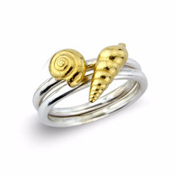 Little Silver Shell Rings with 22ct Gold Inlay