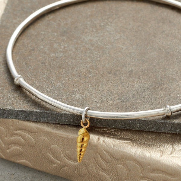 Little Spiral Shell Bangle with 22ct Gold Inlay