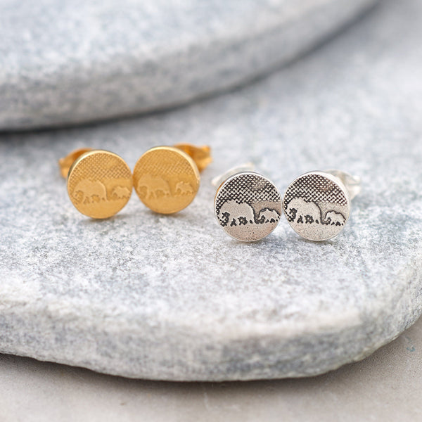 Mother and Baby Silver Elephant Earrings
