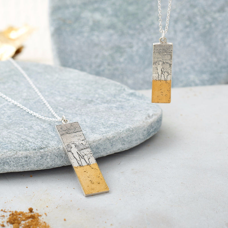 Mother and Child Footprints in the Sand Necklace
