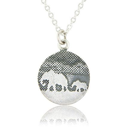 Mother & Baby Silver Elephant Necklace