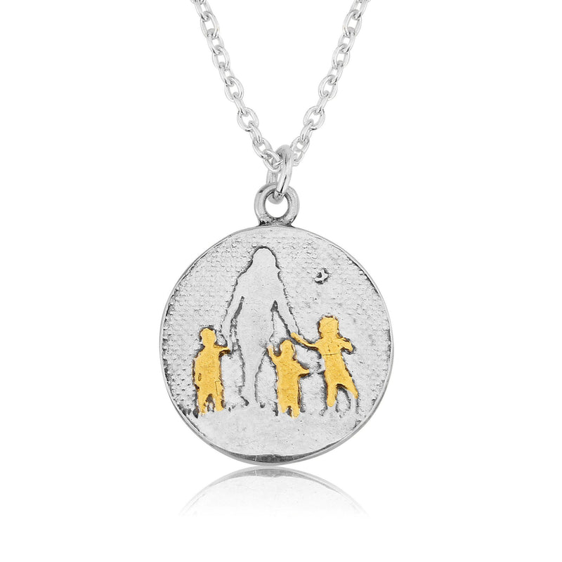 Mother of Three Necklace with golden children (medium)