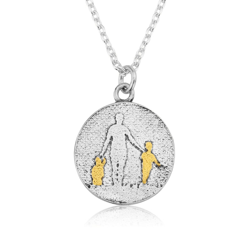 Mother of Two Golden Children Necklace (medium)