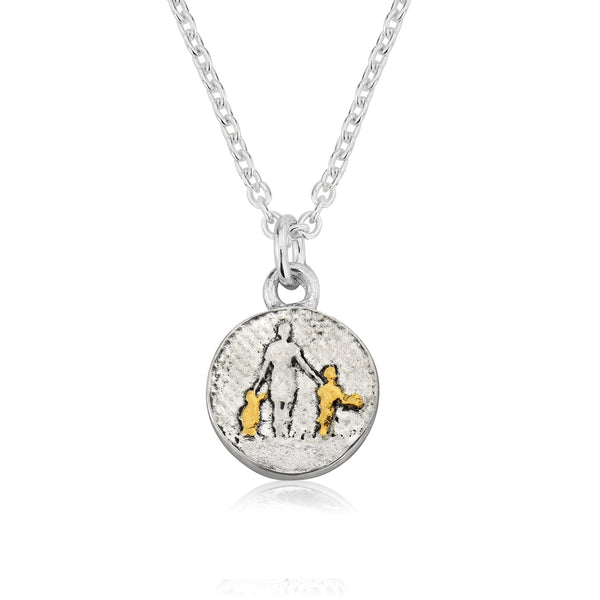 Mother of Two Golden Children Necklace (small)