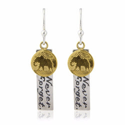 Never Forget Elephant Charm Earrings with Gold Vermeil