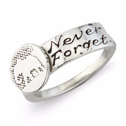 Never Forget Silver Elephant Ring