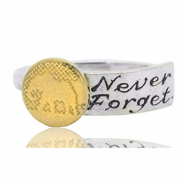 Never Forget Silver Elephant Ring With Gold Vermeil