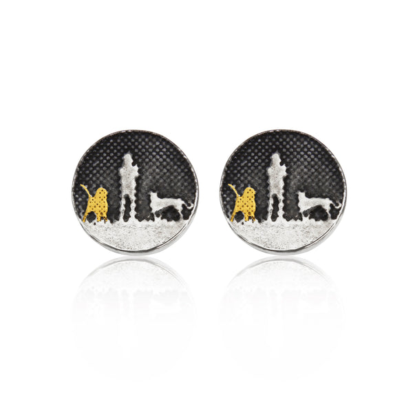 Nights Sky Earrings with Two Dogs