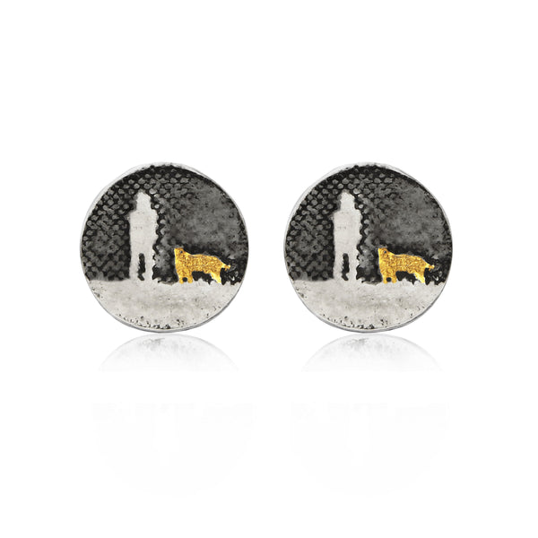Night's Sky Earrings with Two Golden Dogs