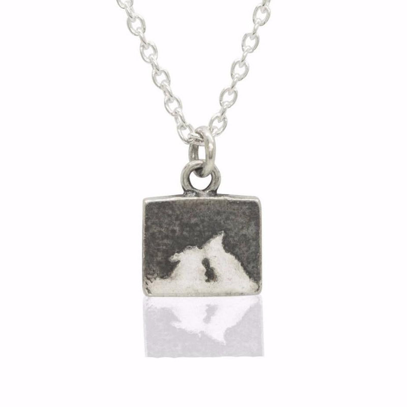 Nights Sky Kiss Silver Bunny Necklace