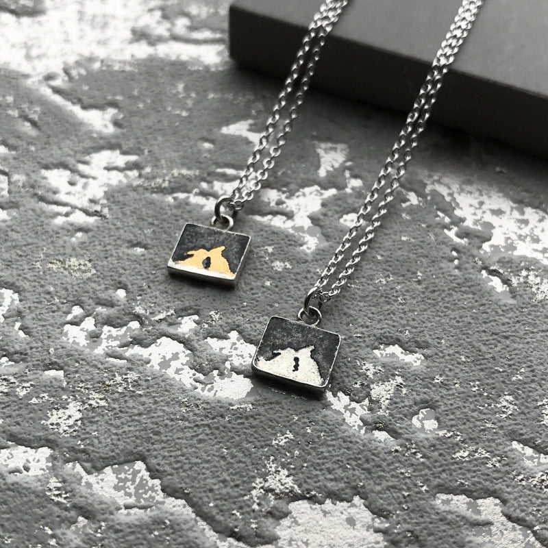 Nights Sky Kissing Gold Bunny Necklace