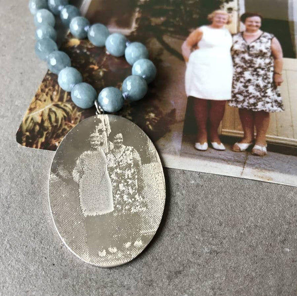 Personalised Photo Pendant with Blue Agate Necklace