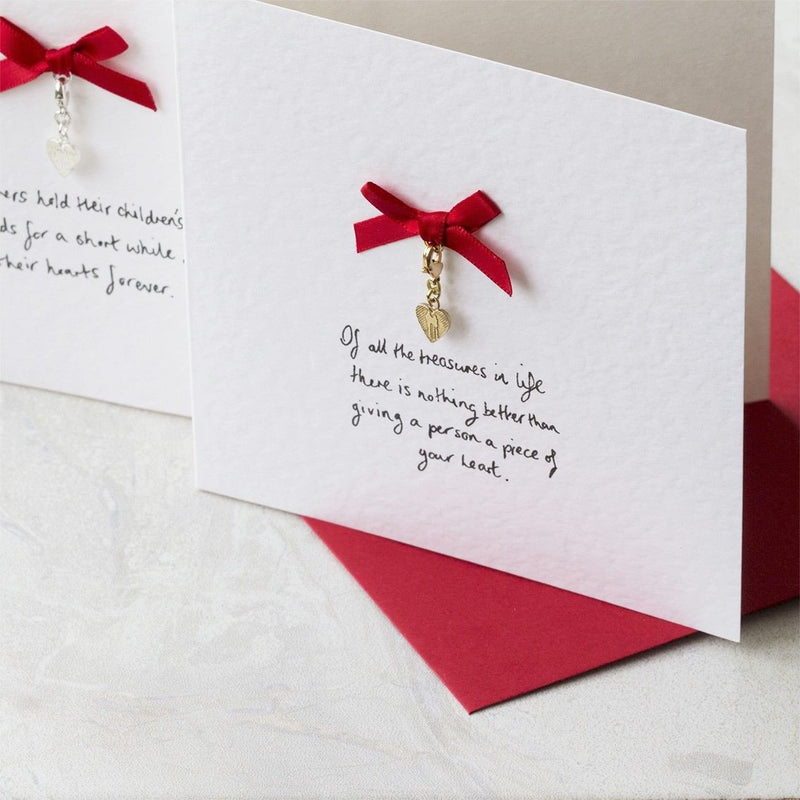 Personalised Silver Heart Charm Card