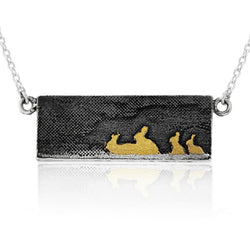 Rabbit Family Necklace with 22ct Gold Vermeil