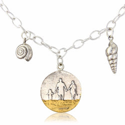 Round Beach Family Necklace with Shell Charms