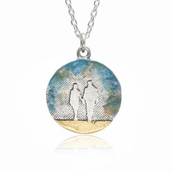 Round Couple Necklace with Blue Sky
