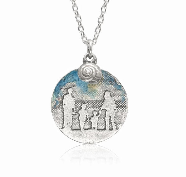 Round Family Necklace with Blue Sky