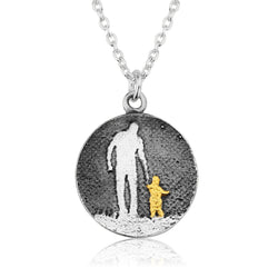 Round Father and Golden Child Necklace