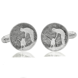 Round Man's Best Friend Silver Dog Cufflinks