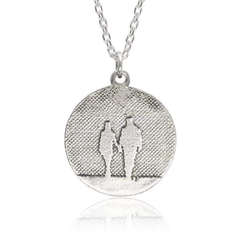 Round Silver Couple Necklace