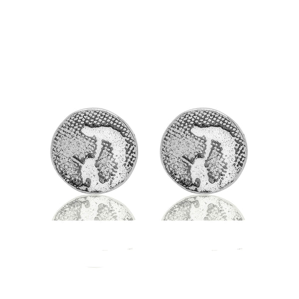 Round Silver Dog Earrings