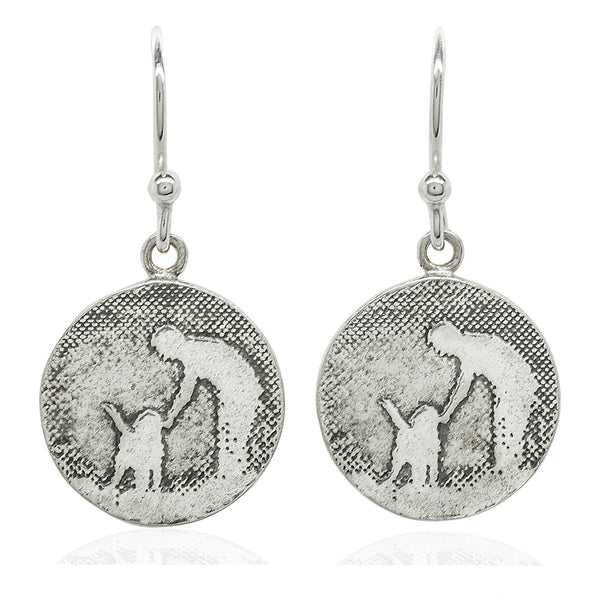 Round Silver Dog Earrings (Large)