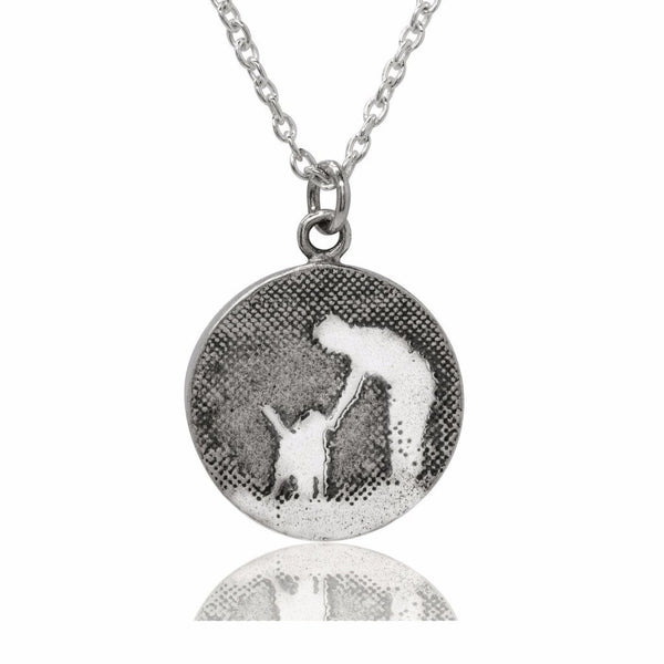 Round Silver Dog Necklace