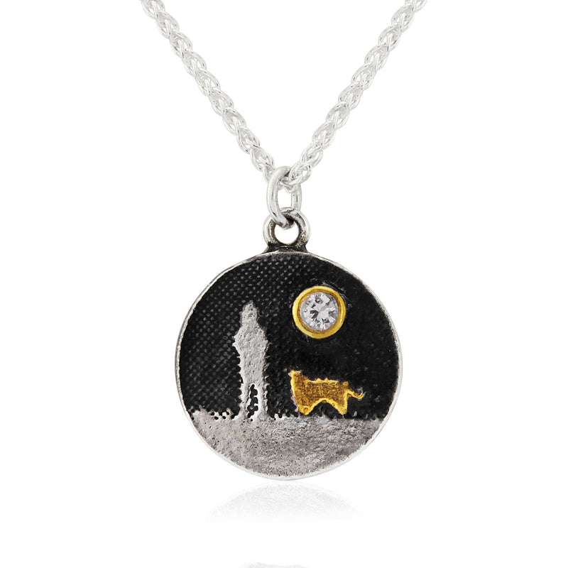 Sapphire Moon Dog Lovers Gold Dog Necklace
