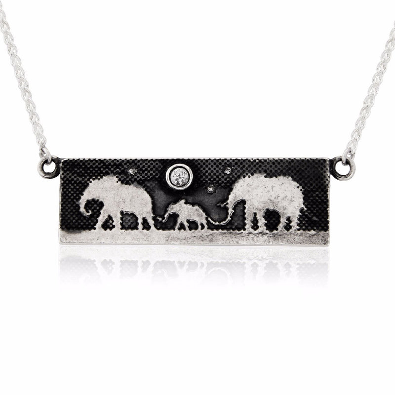 Sapphire Moon Elephant Family Necklace With Diamond Stars