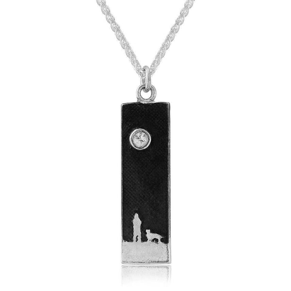 Side by Side Beneath the White Sapphire Sky' Dog Lovers Necklace