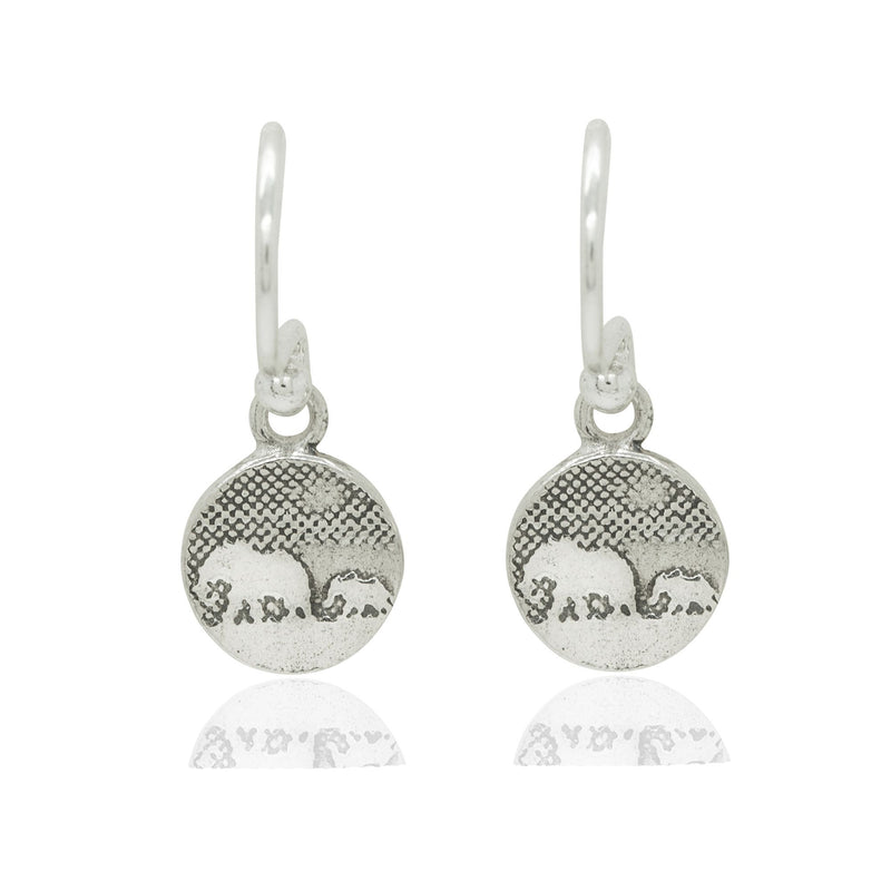 Tiny Mother and Baby Elephant Earrings