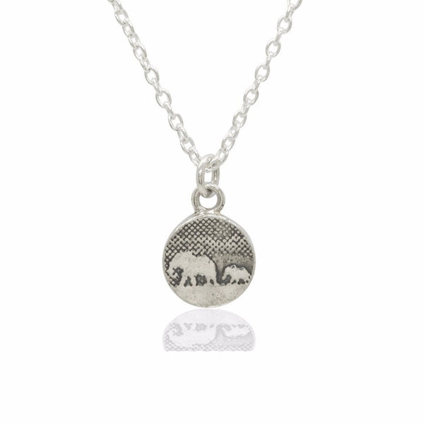 Tiny Mother and Baby Elephant Pendant