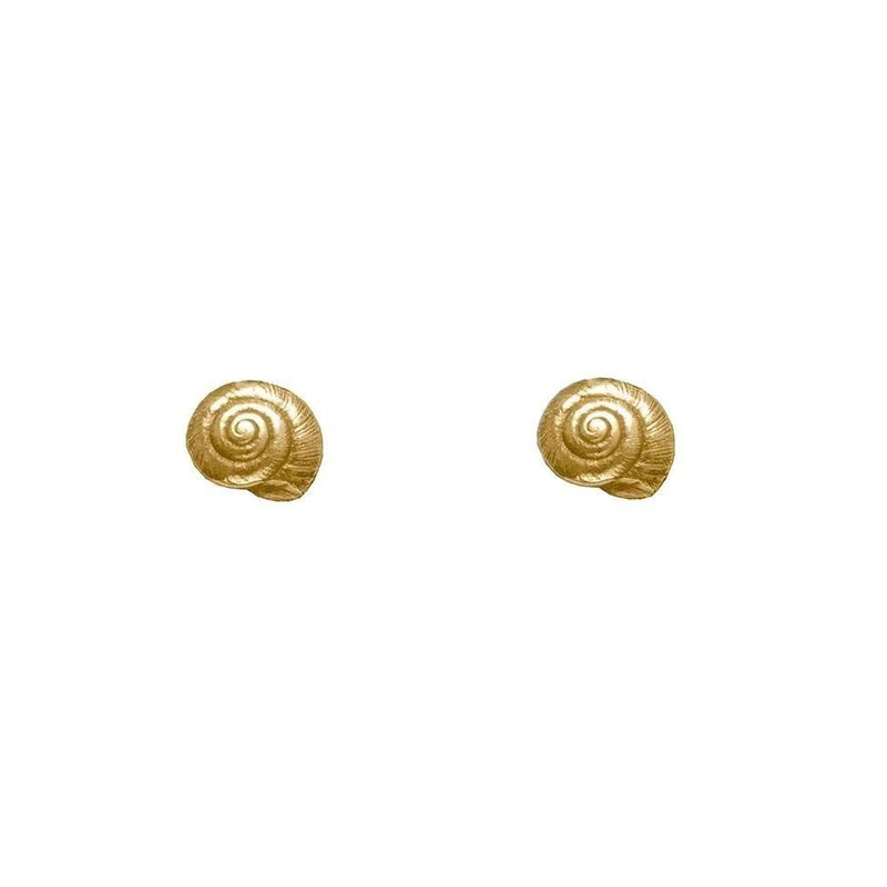 Tiny Silver Shell Earrings with 22ct gold vermeil