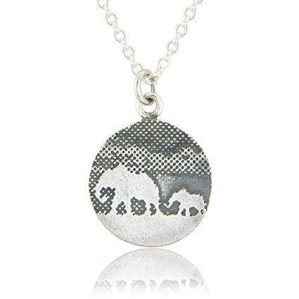 Under the Sapphire Moon Mother and Baby Elephant Necklace