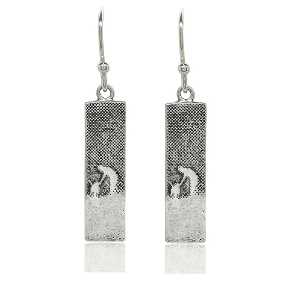 Walk With Me Silver Dog Drop Earrings