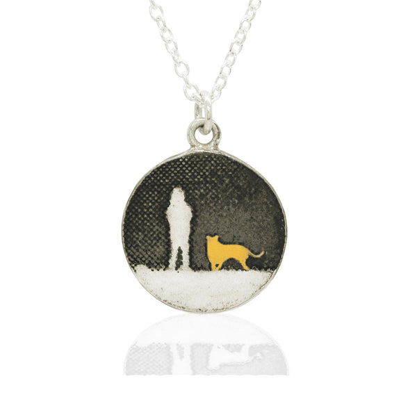 Walks Under Night's Sky Golden Dog Necklace