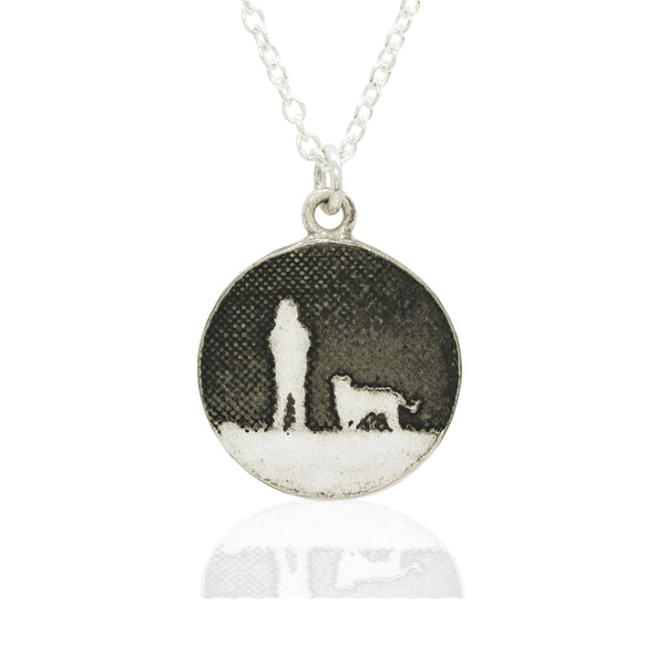 Walk's Under Night's Sky Round Silver Dog Necklace