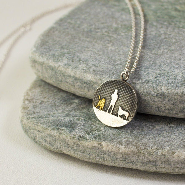 Walks Under Night's Sky Two Dog Necklace (Golden Dog)