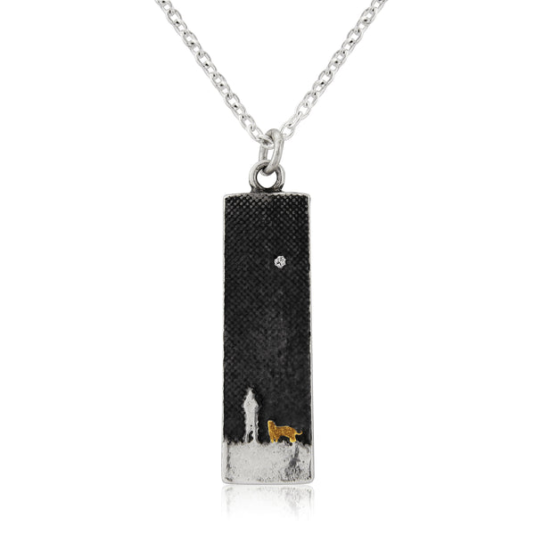 Walk's Under The Moonlit Sky Gold Dog Necklace (Small)