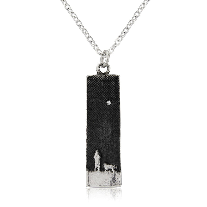 Walk's Under The Moonlit Sky Small Dog Necklace With Diamond Star