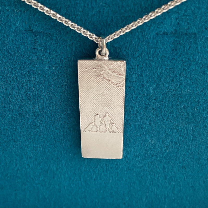 White Gold Couple & Mans Best Friend Necklace with two dogs