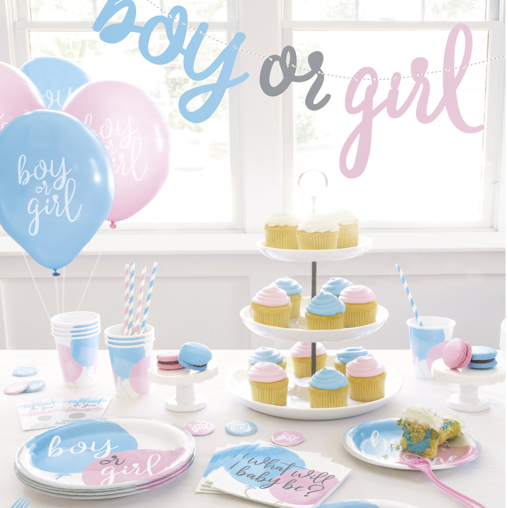 Buffet tableware setting with mix of pink and blue cups and cutlery. Pink and blue plates at the front and hanging decorations over top both say 'girl or boy' on them