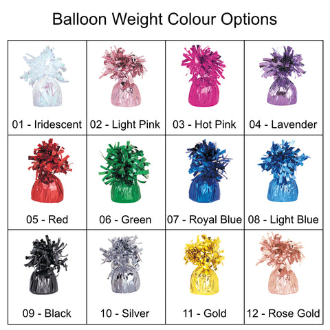 Grid showing different colour balloon weights with frilly tops