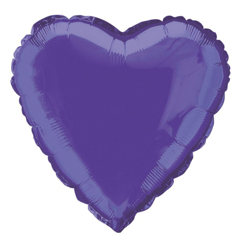 Deep Purple Heart-Shaped Foil Balloon INFLATED