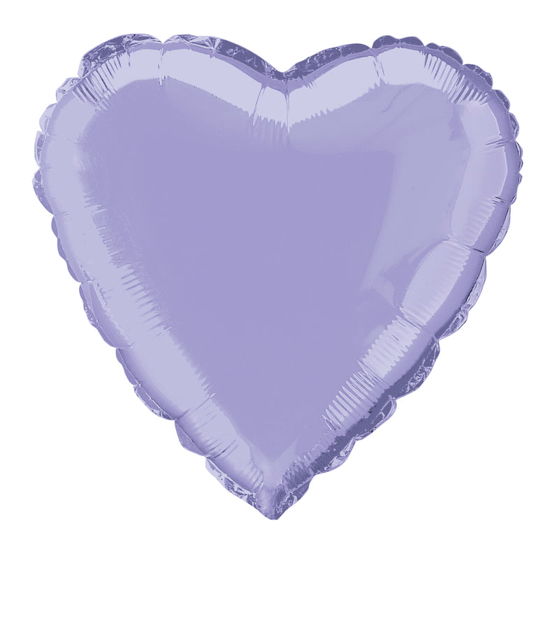 Lavender Heart-Shaped Foil Balloon INFLATED