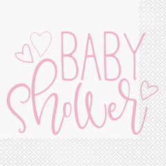 Pink Hearts Napkins - Uk Baby Shower Co ltd