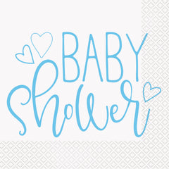 Blue Hearts Napkins - Uk Baby Shower Co ltd
