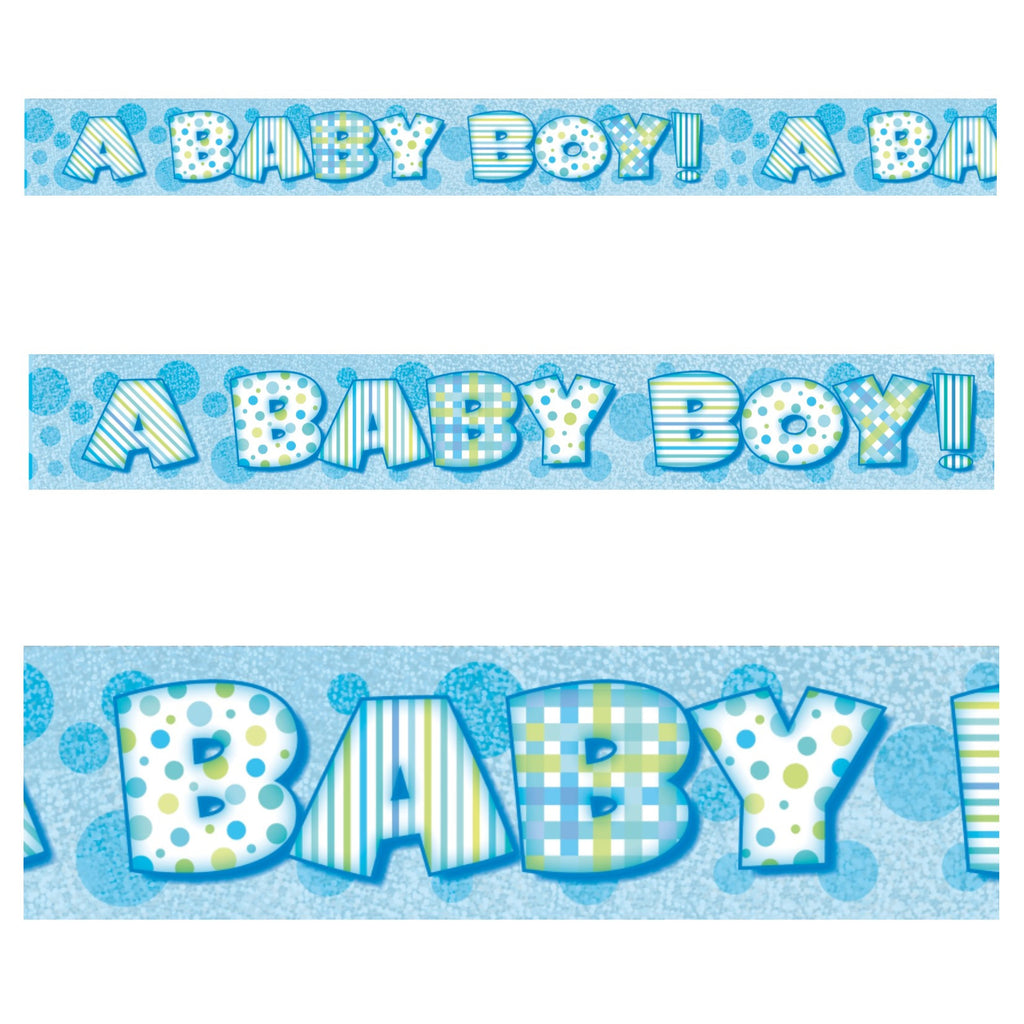 Blue Baby Boy Prismatic Foil Banner