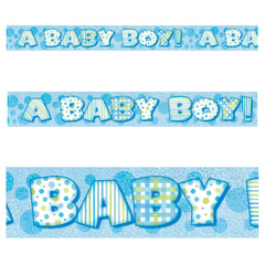 Blue Baby Boy Prismatic Foil Banner - Uk Baby Shower Co ltd