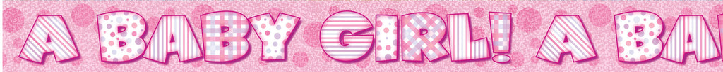 Pink Baby Girl Prismatic Foil Banner,[product type] - Baby Showers and More